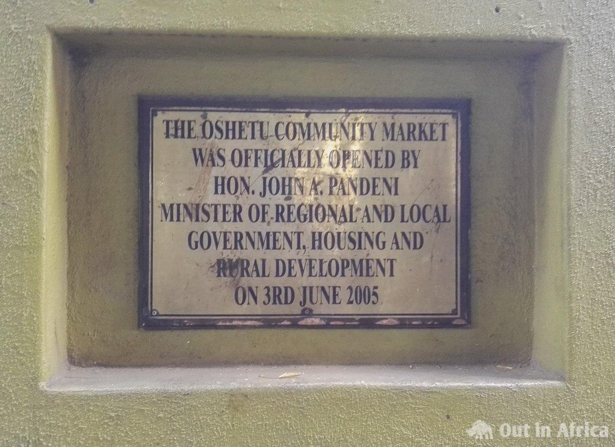 Entrance sign Oshetu Community Market