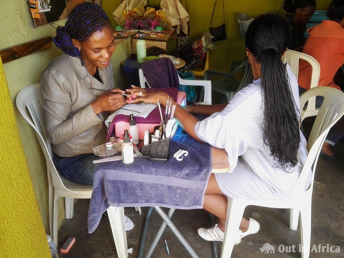 Manicure parlour on the Oshetu Community Market