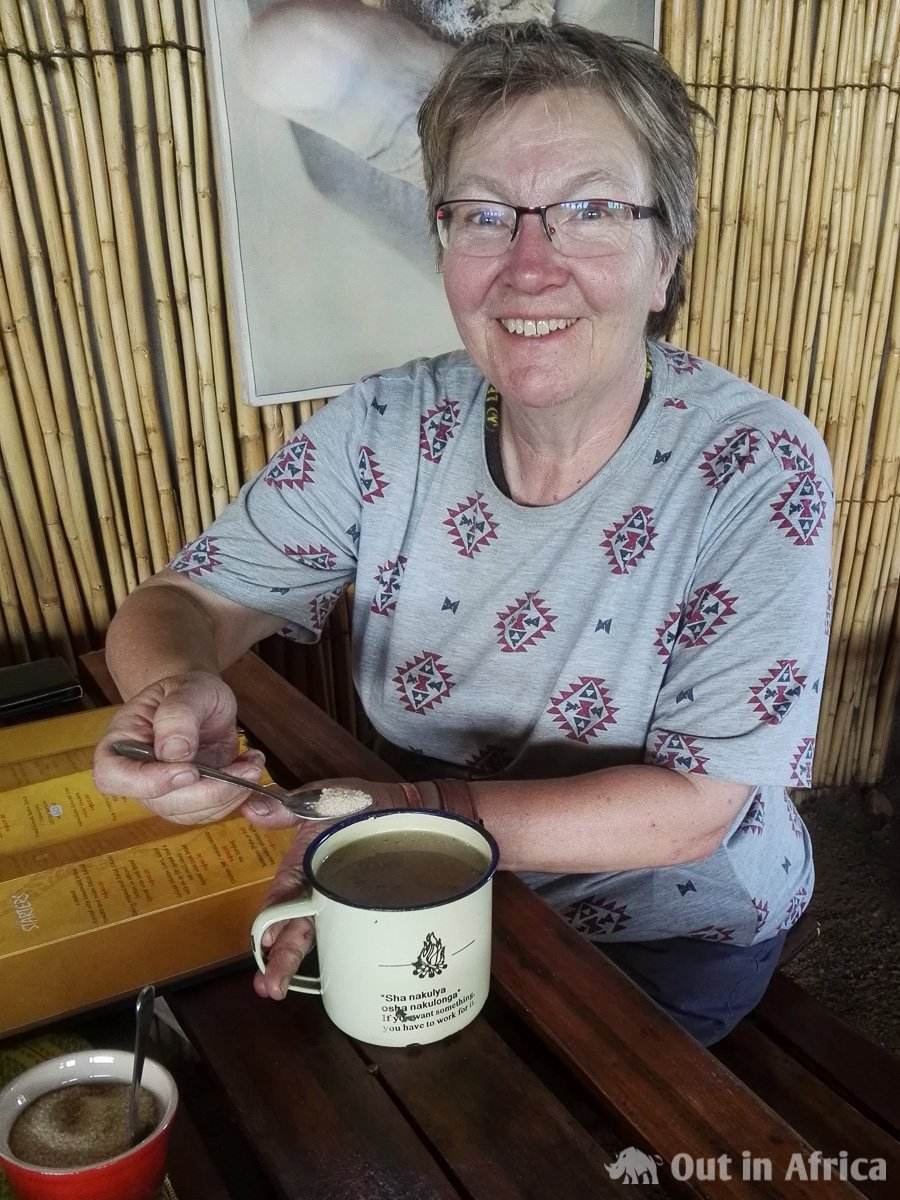 Anita drinks Oshikundu