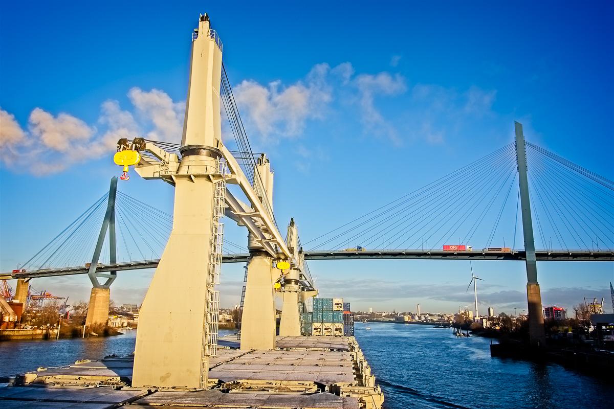 Bright Sky and Köhlbrand Bridge