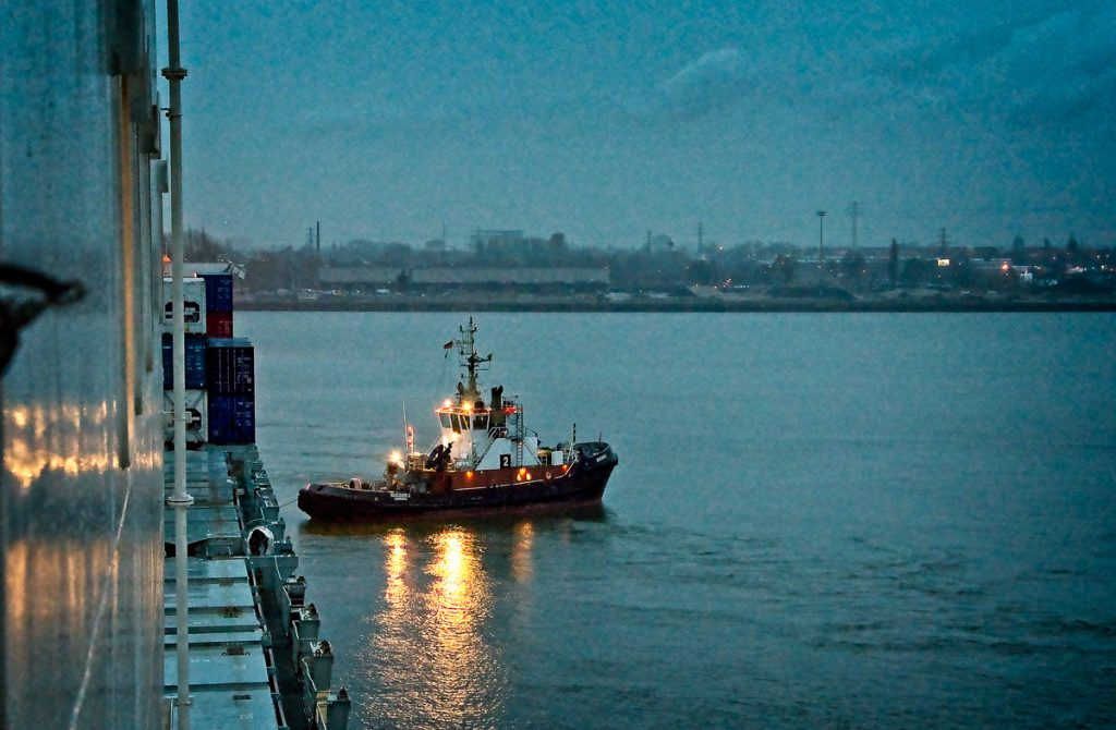 A tugboat moored at the Bright Sky.