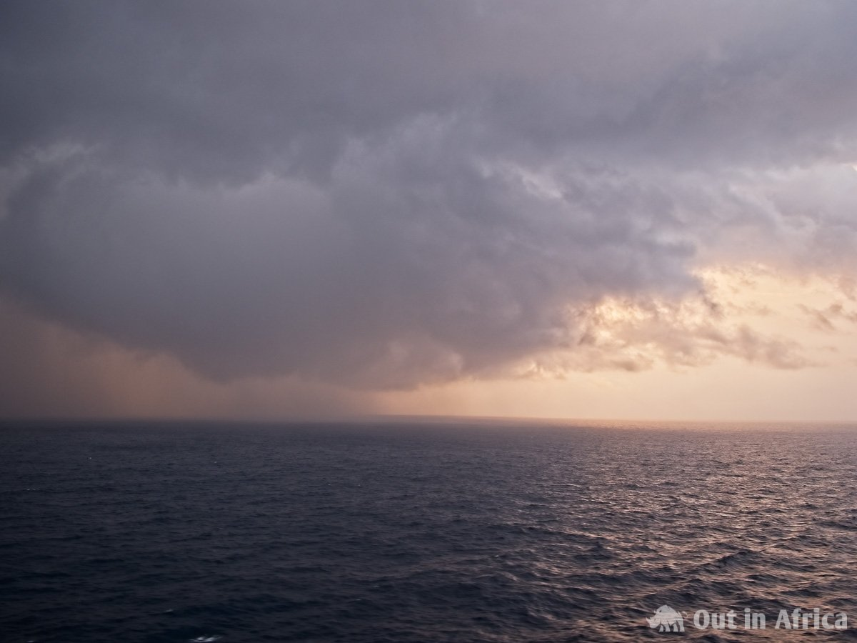 Rain over the Atlantic Ocean